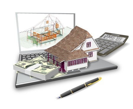 17597497 - laptop, house design, calculator are shown in the picture