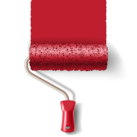 53209810 - paint roller brush with red paint track isolated on white background. applicable for banners and labels. vector illustration.